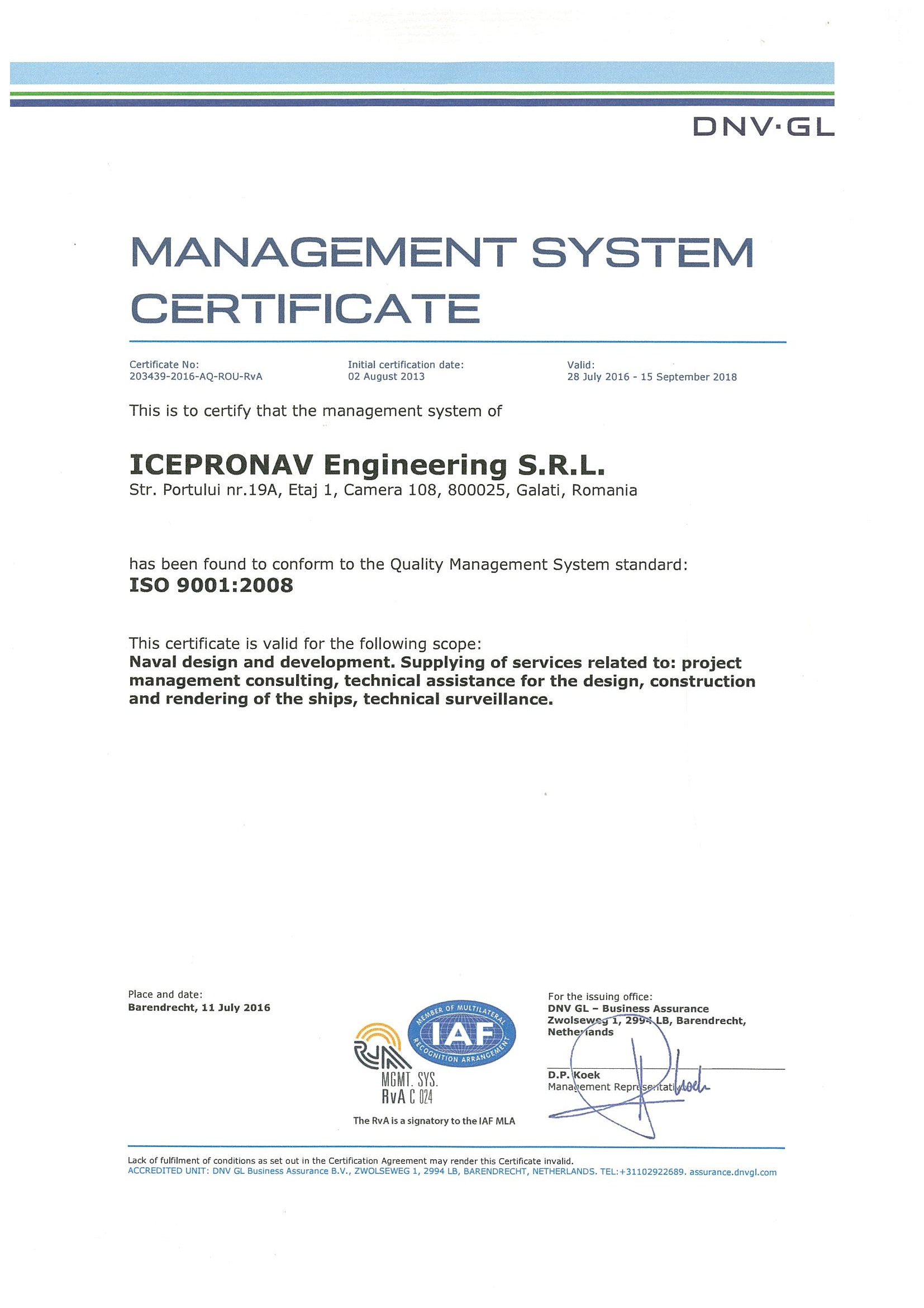 Iso 90012008 re certification icedesign 2016 2018 qms certificate as per iso 9001 1betcityfo Image collections