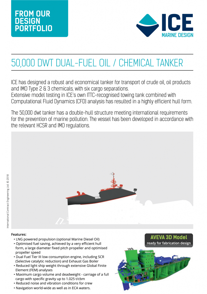 ICE 50,000 dwt Oil Chemical Tanker Design 2018
