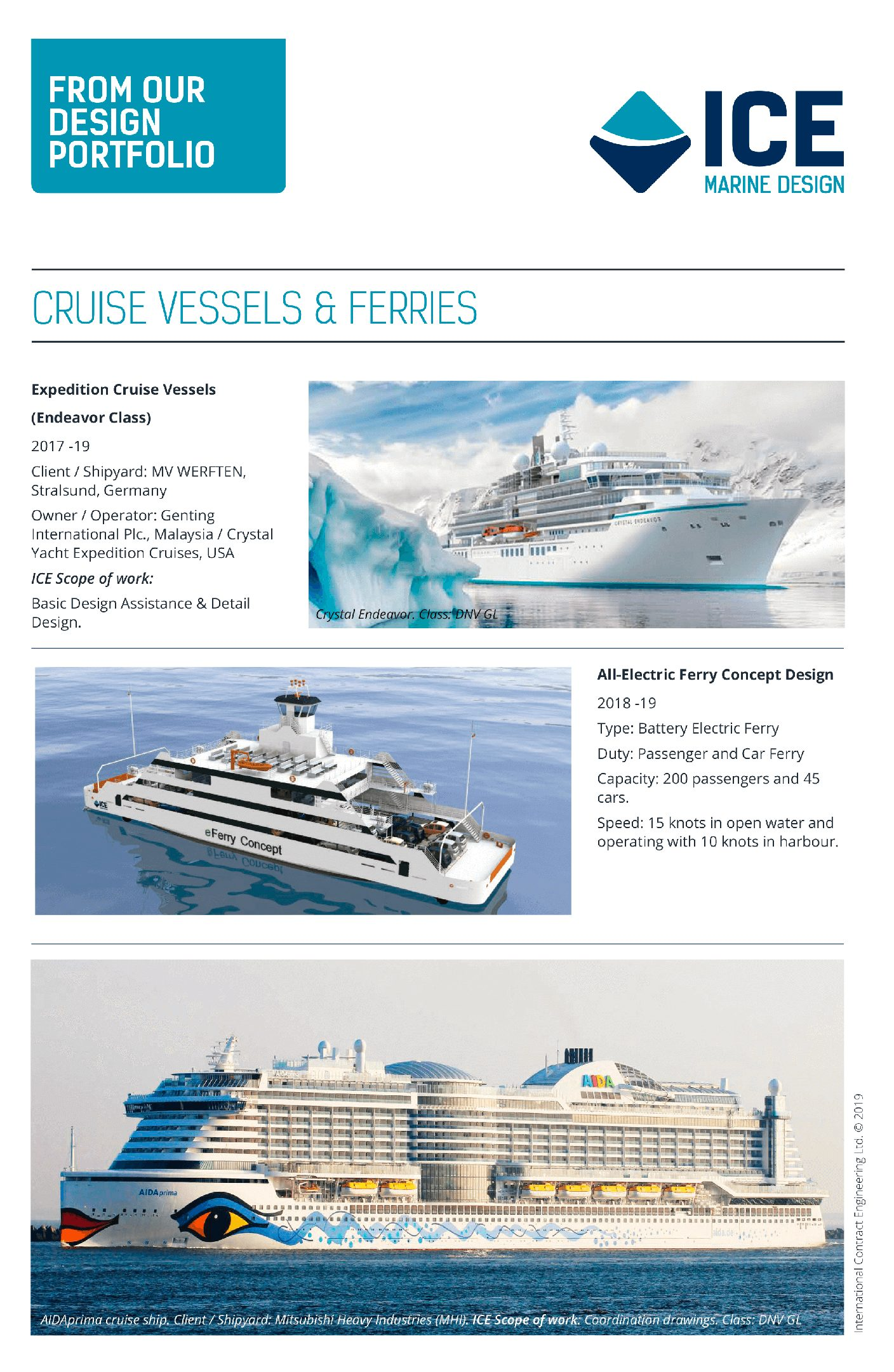 ICE Cruise Ships and Passenger Ferries Leaflet 2019